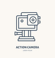 action camera flat line icon extreme photography vector image