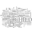 be serious with your child future text word cloud vector image vector image