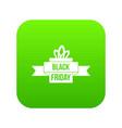 black friday ribbon icon digital green vector image
