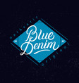 blue denim hand written lettering label vector image vector image
