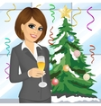businesswoman toasting with a glass of champagne vector image vector image