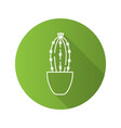 cactus in flowerpot flat linear long shadow icon vector image