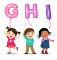 cartoon kids holding letter ghi shaped balloons vector image vector image
