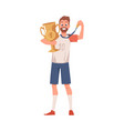 champion winner sportsman with cup and medal flat vector image vector image