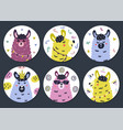 circle shape stickers set with cute llama for kids vector image vector image