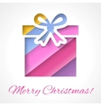 Colorful Merry Christmas greeting card with gift vector image