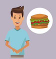 colorful poster half body man and icon hamburger vector image vector image