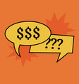 communication speech bubbles on orange background vector image