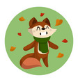 cute cartoon fox and autumn vector image