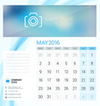 Desk Calendar for 2016 Year May Stationery Design vector image