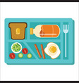 dinner tray poster school lunch blue salver vector image vector image