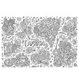doodle cartoon set of africa designs vector image