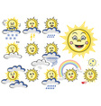 emotions sun with cloud and weather vector image