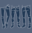 fashion Collection of mens jeans vector image vector image