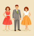fashion of the 1950s years vector image