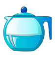 glass tea pot icon cartoon style vector image vector image