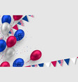 glossy balloons in colors american flag vector image vector image