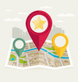 gps map pointers on the map vector image vector image