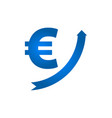 growing euro icon vector image