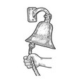 hand ring in ship bell sketch vector image vector image