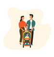 happy family with bastroller man woman and a child vector image vector image