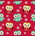 happy winter holidays seamless pattern with owls vector image vector image