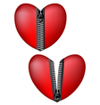 hearts with zipper vector image vector image