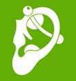 human ear with piercing icon green vector image vector image