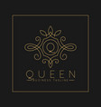 luxurious letter q logo with classic line art vector image vector image