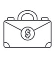 money suitcase thin line icon bag and business vector image vector image