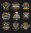 old barbershop emblems and labels vintage vector image