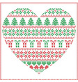 Pattern cross stitch heart shape in green and red vector image vector image