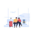 people wait boarding in airport terminal hall vector image