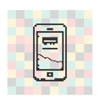pixel icon smartfone on a square background vector image vector image