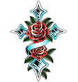 religious cross and rose vector image vector image