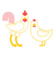 rooster and chicken farm bird isolated on white vector image vector image