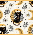 seamless pattern with magic eye and black cat vector image vector image