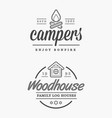 set camp logo with campfire log wood house vector image