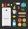 Set of Icons and in Flat Style Kitchen Appliances vector image vector image