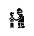 son and father black icon sign on isolated vector image vector image