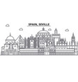spain seville architecture line skyline vector image vector image