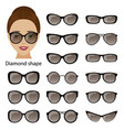 spectacle frames and diamond face vector image vector image