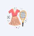 sports dress ball and racket flat vector image