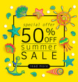 summer sale banner with pieces of marine items vector image vector image