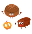 two smiling funny whole wheat dark brown bread vector image vector image