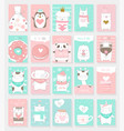 valentines day background with cute baby animal vector image vector image