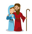 virgin mary and joseph holding stick hugging vector image vector image