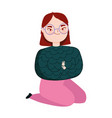 young woman with glasses on knees character vector image