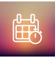 Calendar and stopwatch thin line icon vector image