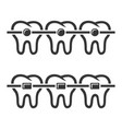 teeth braces icons set on white background vector image